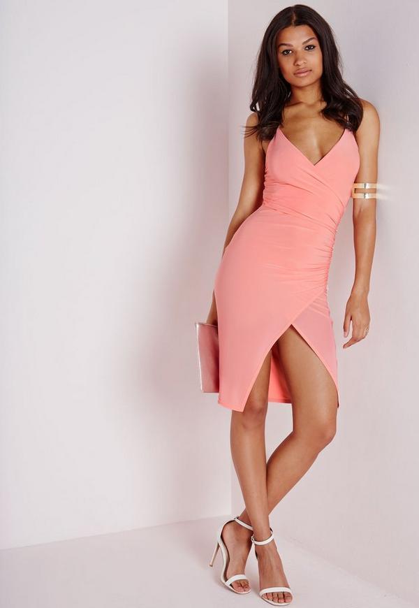 Slinky Strappy Asymmetric Bodycon Dress Blush | Missguided