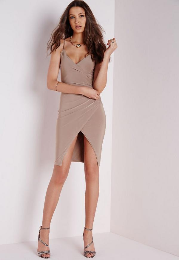 Slinky Strappy Asymmetric Bodycon Dress Taupe