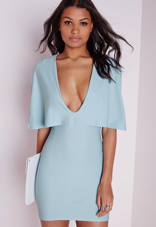 Crepe Cape Bodycon Dress Powder Blue