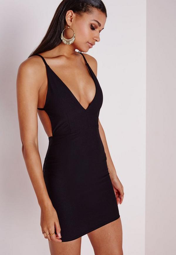 Crepe Extreme Plunge Strappy Bodycon Dress Black