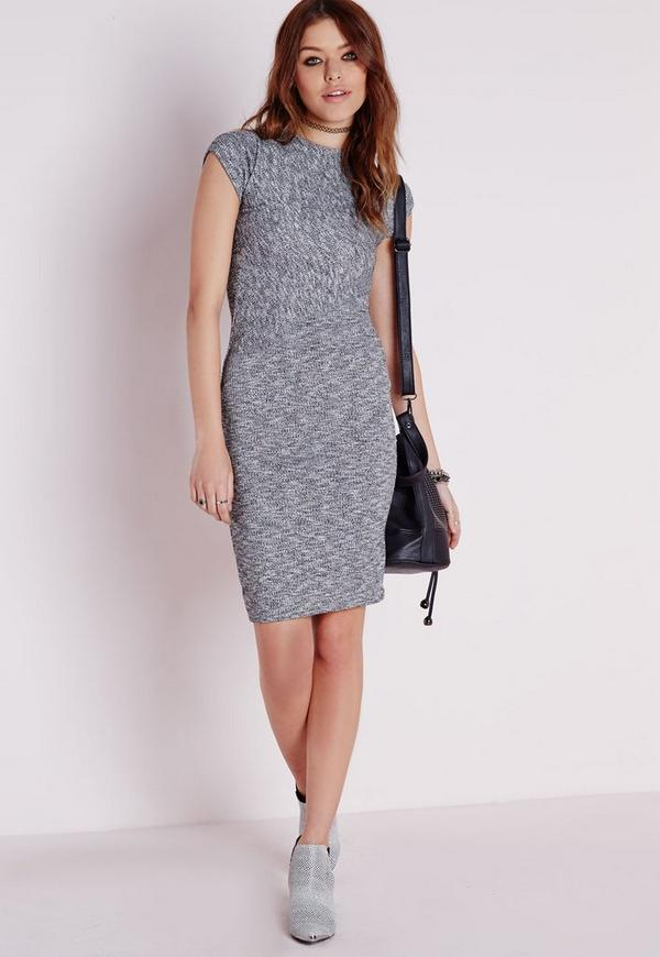 High Neck Rib Bodycon Dress Grey