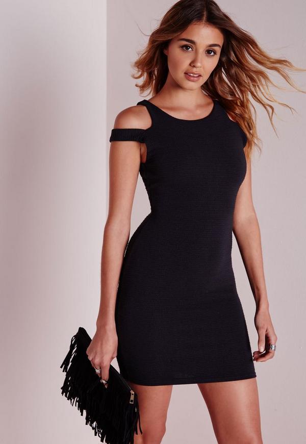 Cut Out Shoulder Bodycon Dress Black