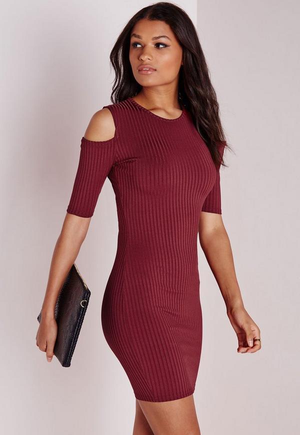 Cold Shoulder Bodycon Dress Burgundy Rib