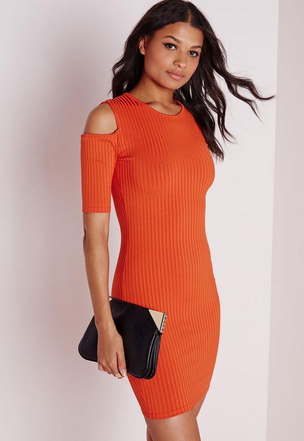 Cold Shoulder Bodycon Dress Orange Rib