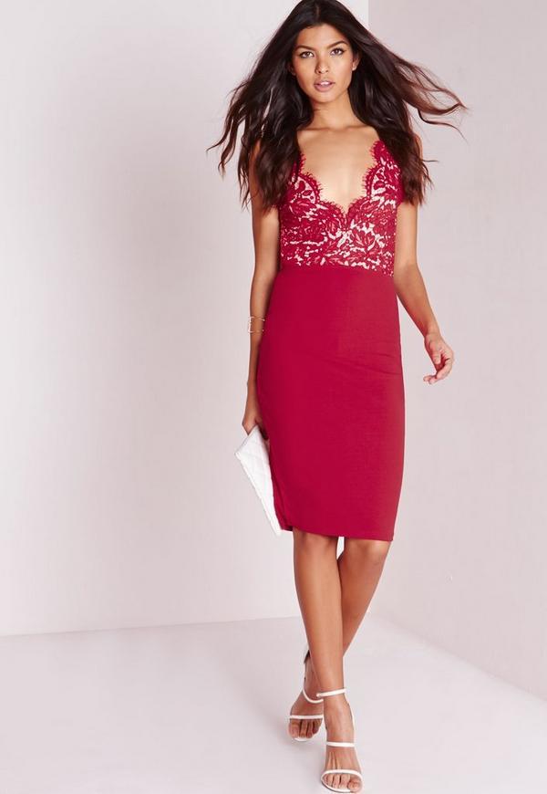 Lace Midi Dress Red