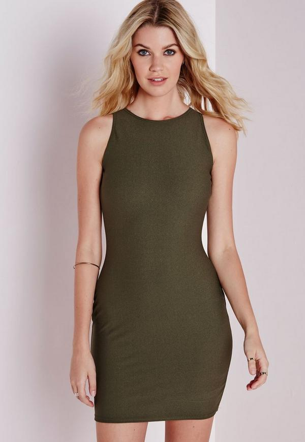 Crepe Racer Bodycon Dress Khaki