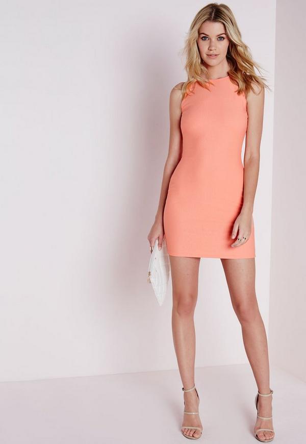 Crepe Racer Bodycon Dress Peach
