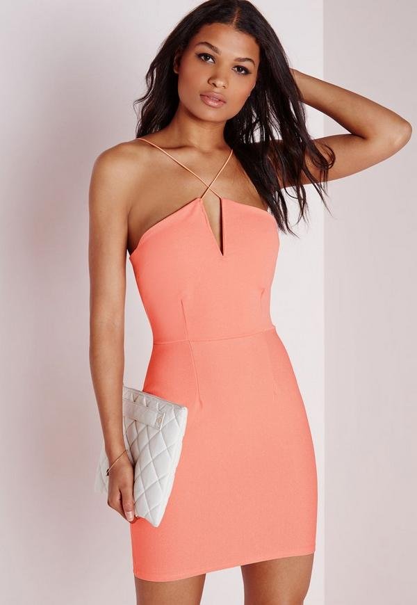 Crepe Cross Front Bodycon Dress Peach