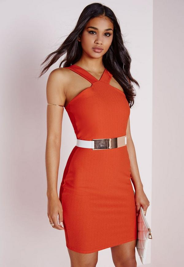 Crepe Cross Strap Bodycon Dress Orange