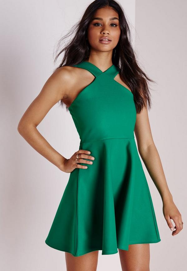 Crepe Cross Front Skater Dress Green | Missguided