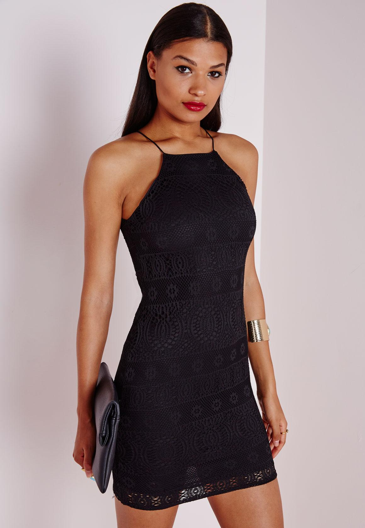 Lace Strappy Straight Neck Bodycon Dress Black | Missguided