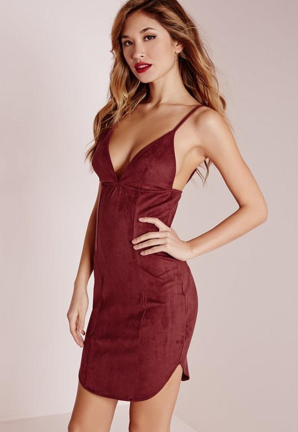 Suede Strappy Curve Hem Bodycon Dress Burgundy
