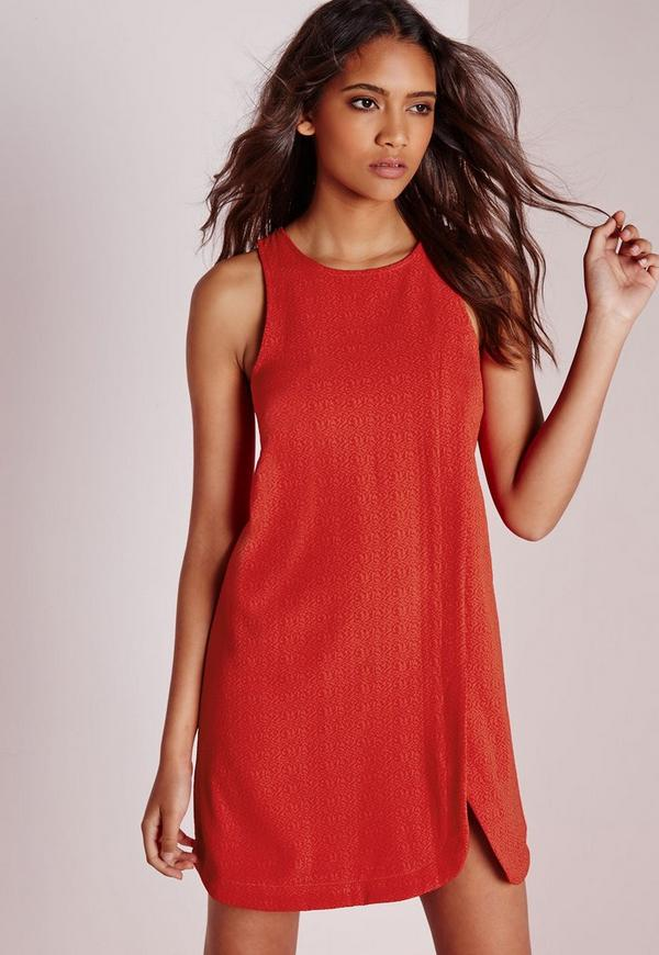 Wrap Overlay Swing Dress Red