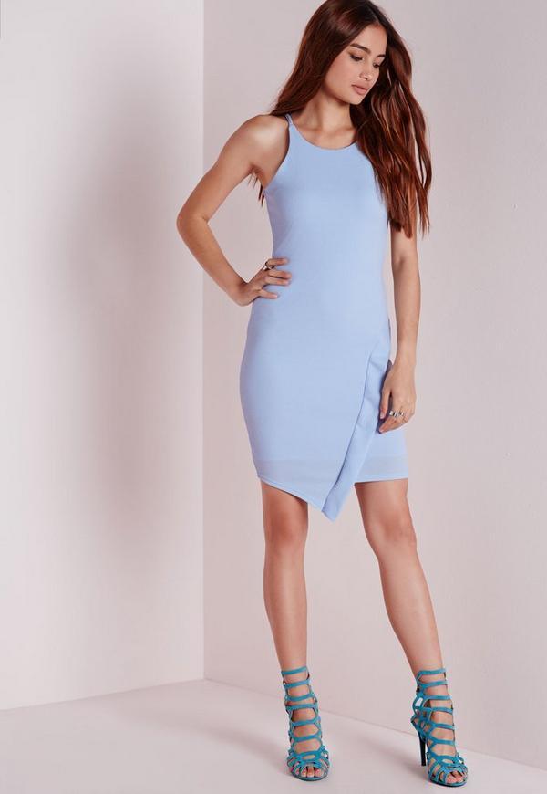 Crepe Asymmetric Hem Bodycon Dress Powder Blue