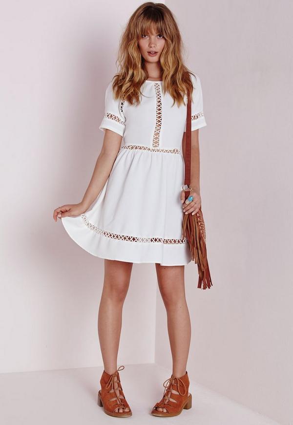 Crochet White Dress : Cheesecloth Crochet Trim Skater Dress White - Dresses - Skater Dresses ...