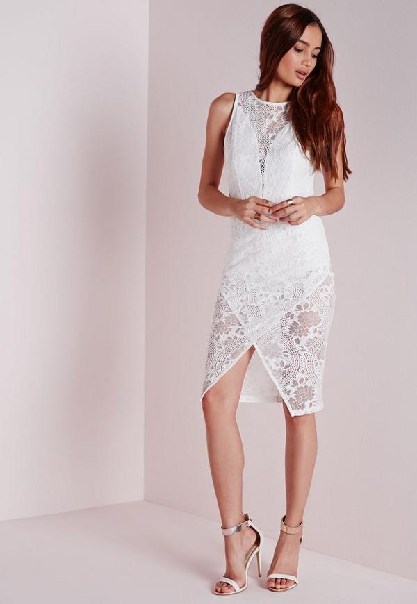 Crochet Lace Origami Midi Dress White