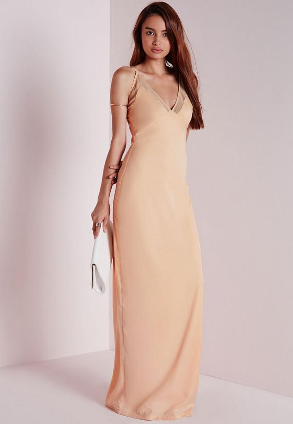 Mesh Detail Crepe Maxi Dress Nude