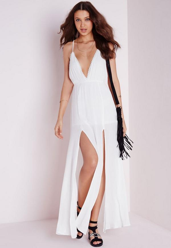 Cheesecloth Plunge Maxi Dress White