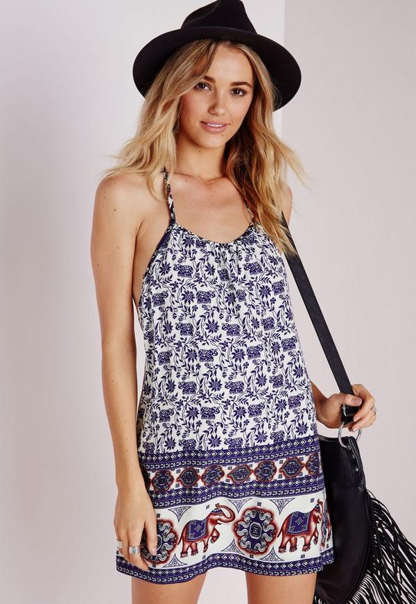 Strappy Cami Dress Cream Elephant Print
