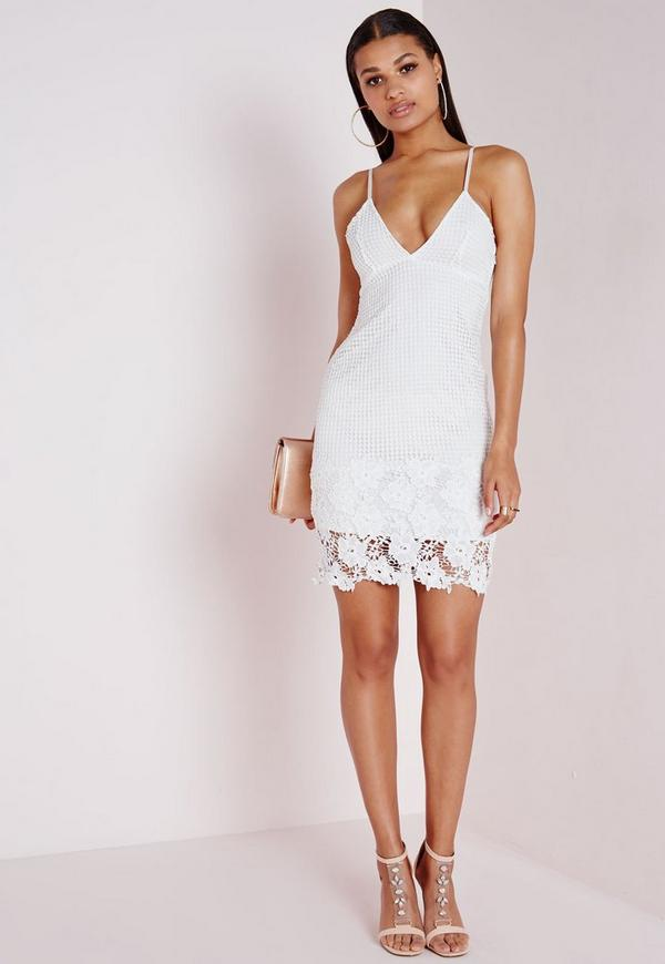 Lace Plunge Bodycon Dress White