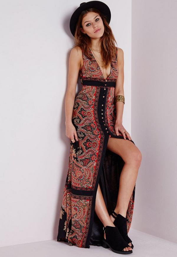Sleeveless Maxi Dress Black Scarf Print