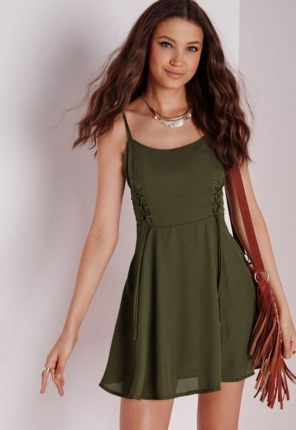 Lace Up Detail Skater Dress Plain Khaki