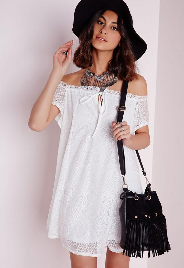 Lace Bardot Dress White