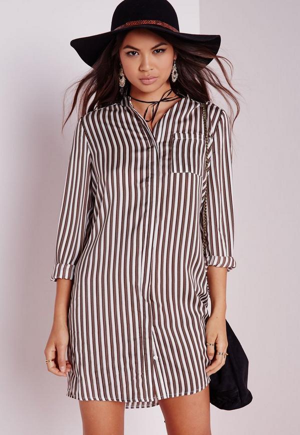 Collarless Shirt Dress Camel Stripe