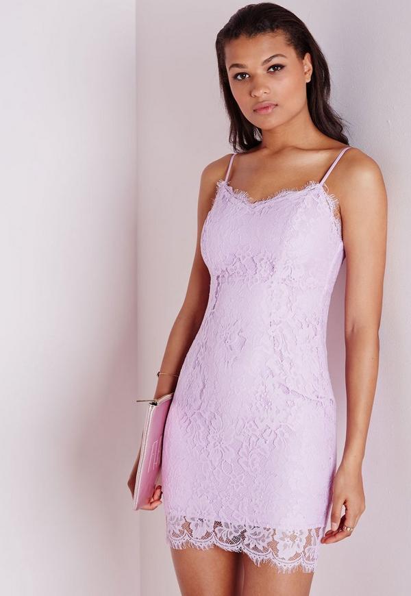 Lace Strappy Bodycon Dress Lilac
