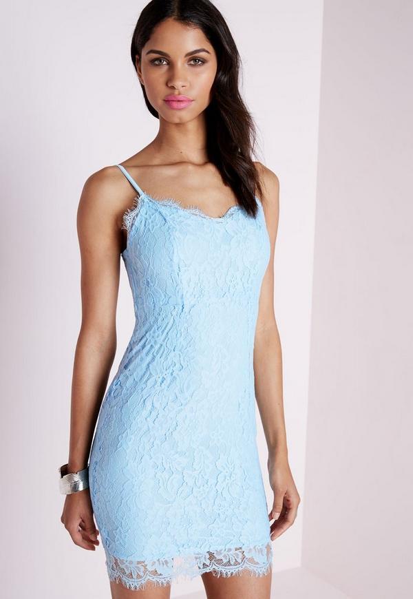 Lace Strappy Bodycon Dress Powder Blue