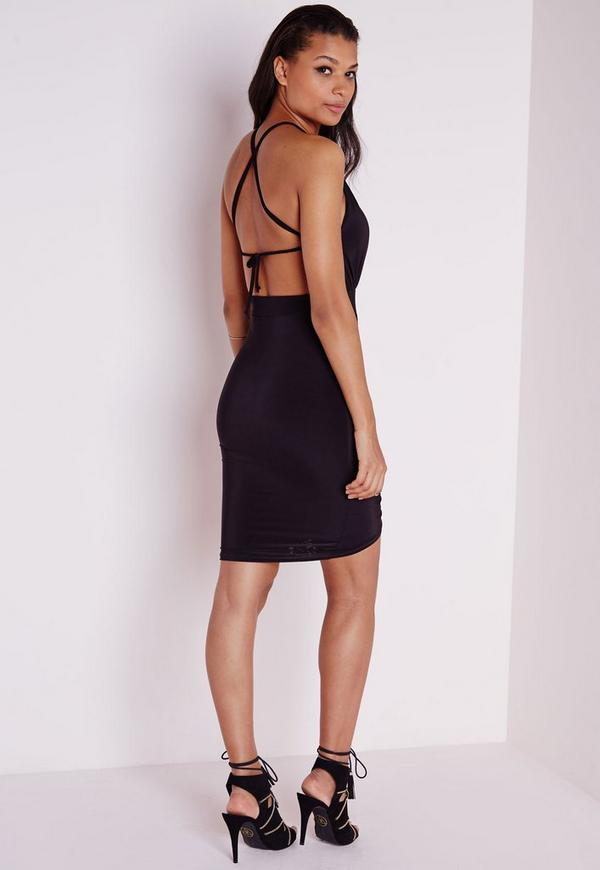 Slinky Strappy Ruched Bodycon Dress Black