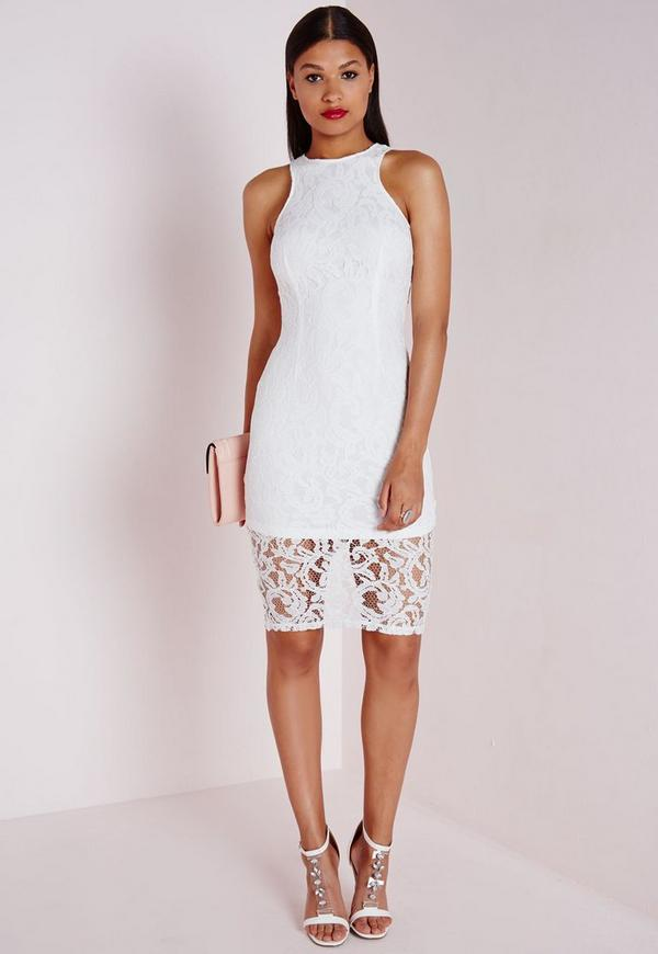 Sleeveless Lace Midi Dress White