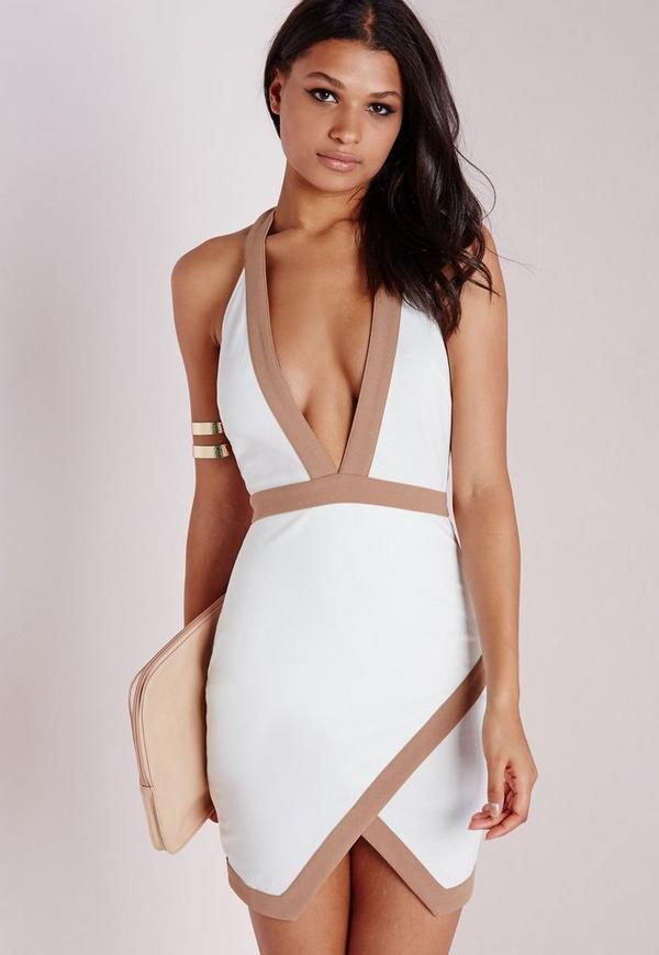Contrast Halterneck Bodycon Dress White