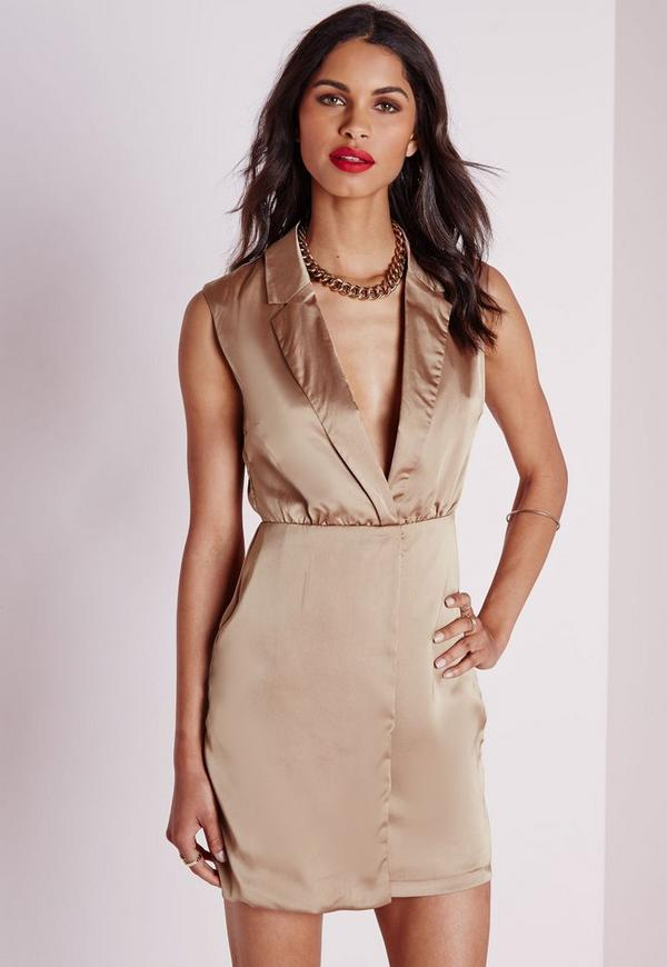 Silky Sleeveless Wrap Over Mini Dress Taupe