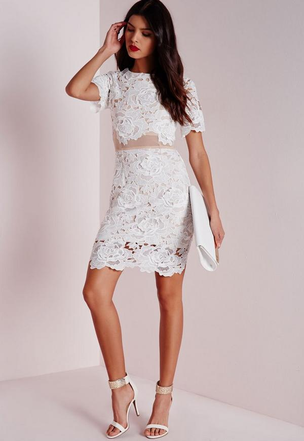 Floral Lace Mesh Waist Bodycon Dress White