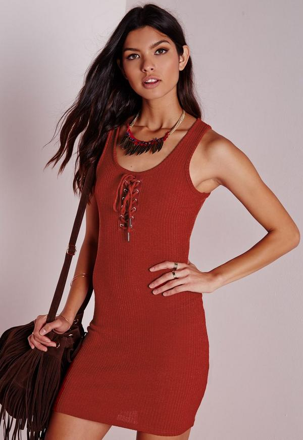 Lace Up Front Ribbed Bodycon Dress Rust