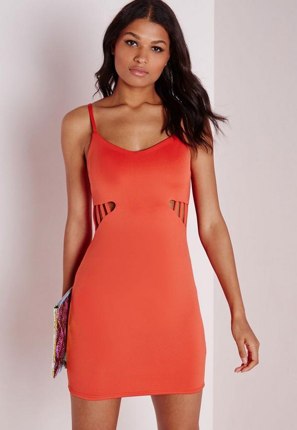 Cut Out Detail Bodycon Dress Neon Orange - Dresses - Bodycon ...