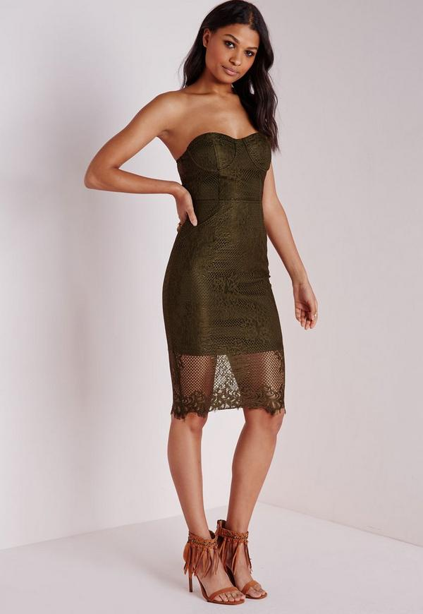 Lace Bandeau Bodycon Dress Khaki