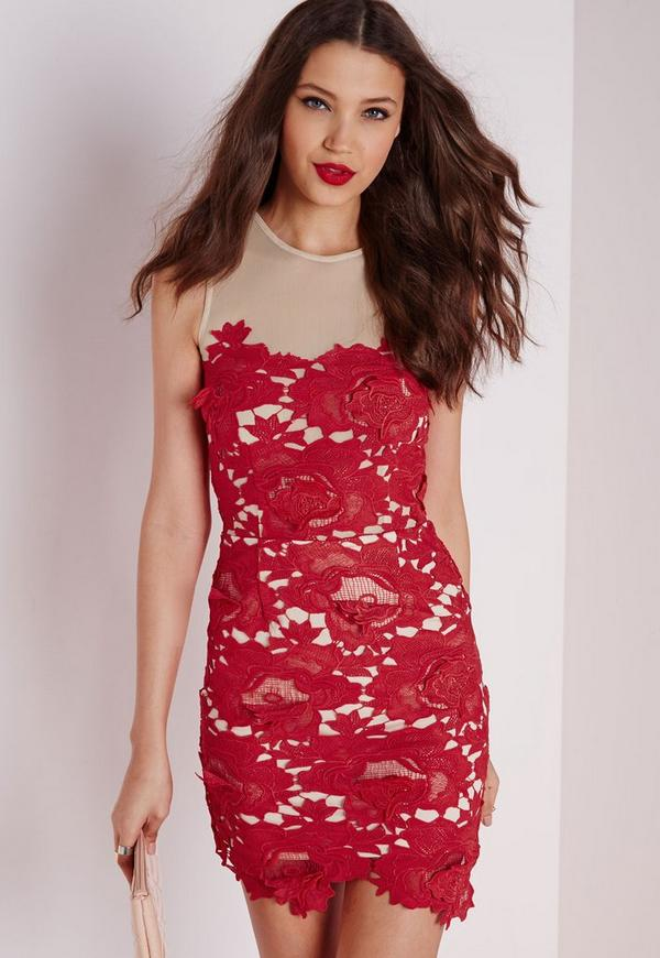 Sleeveless Floral Lace Mesh Mini Dress Red