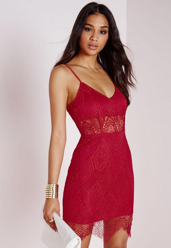 Lace Strappy Bra Insert Bodycon Dress Red