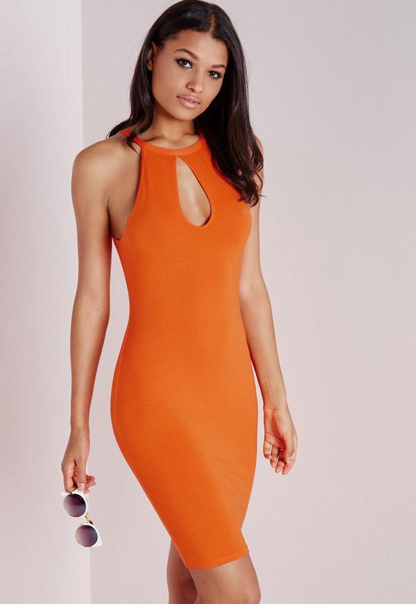 Cut Out Keyhole Bodycon Dress Orange