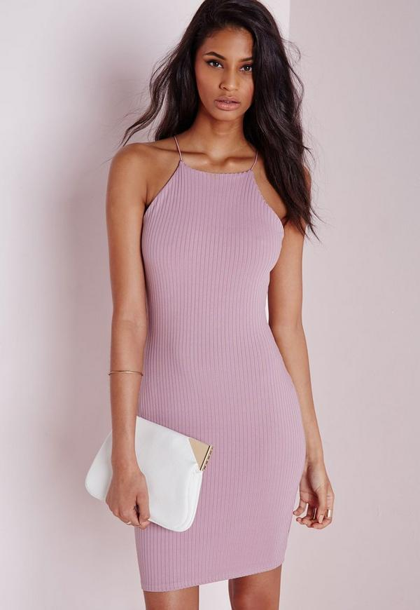 Ribbed 90 39 s neck bodycon dress mauve missguided for Marnie oursler husband