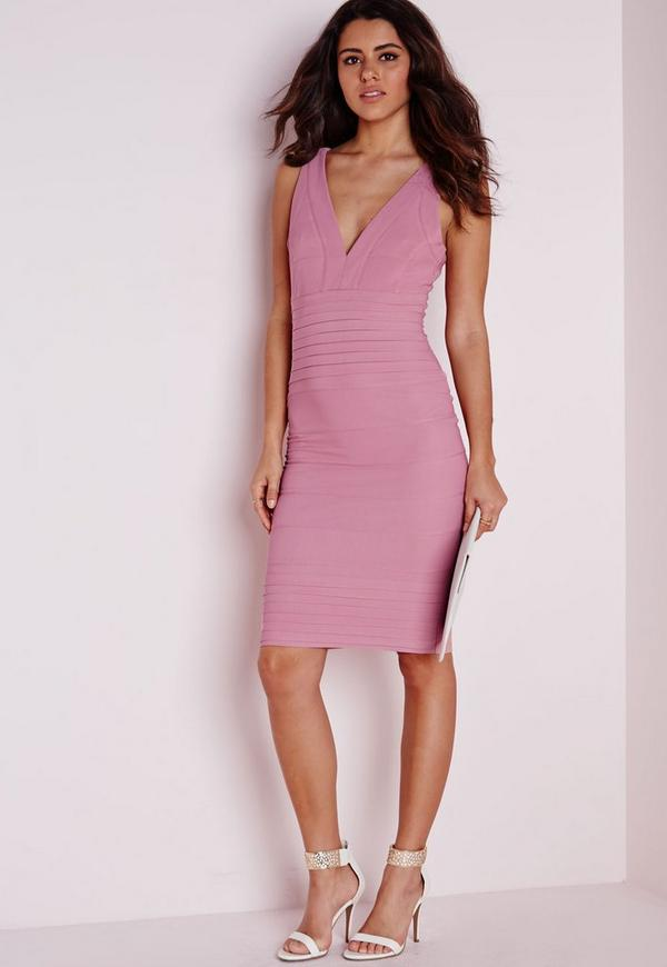 Bandage Bodycon Midi Dress Pink
