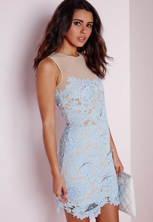 Sleeveless Floral Lace Mesh Mini Dress Powder Blue