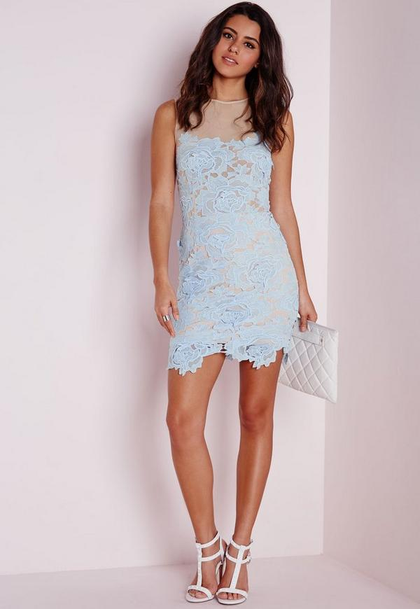 Sleeveless Floral Lace Mesh Mini Dress Powder Blue | Missguided