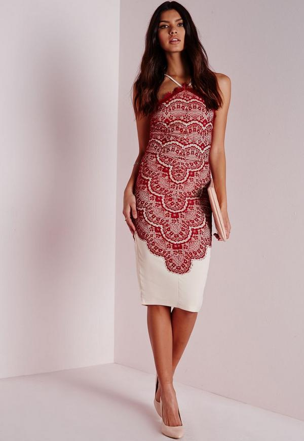 Strappy Lace Overlay Midi Dress Burgundy