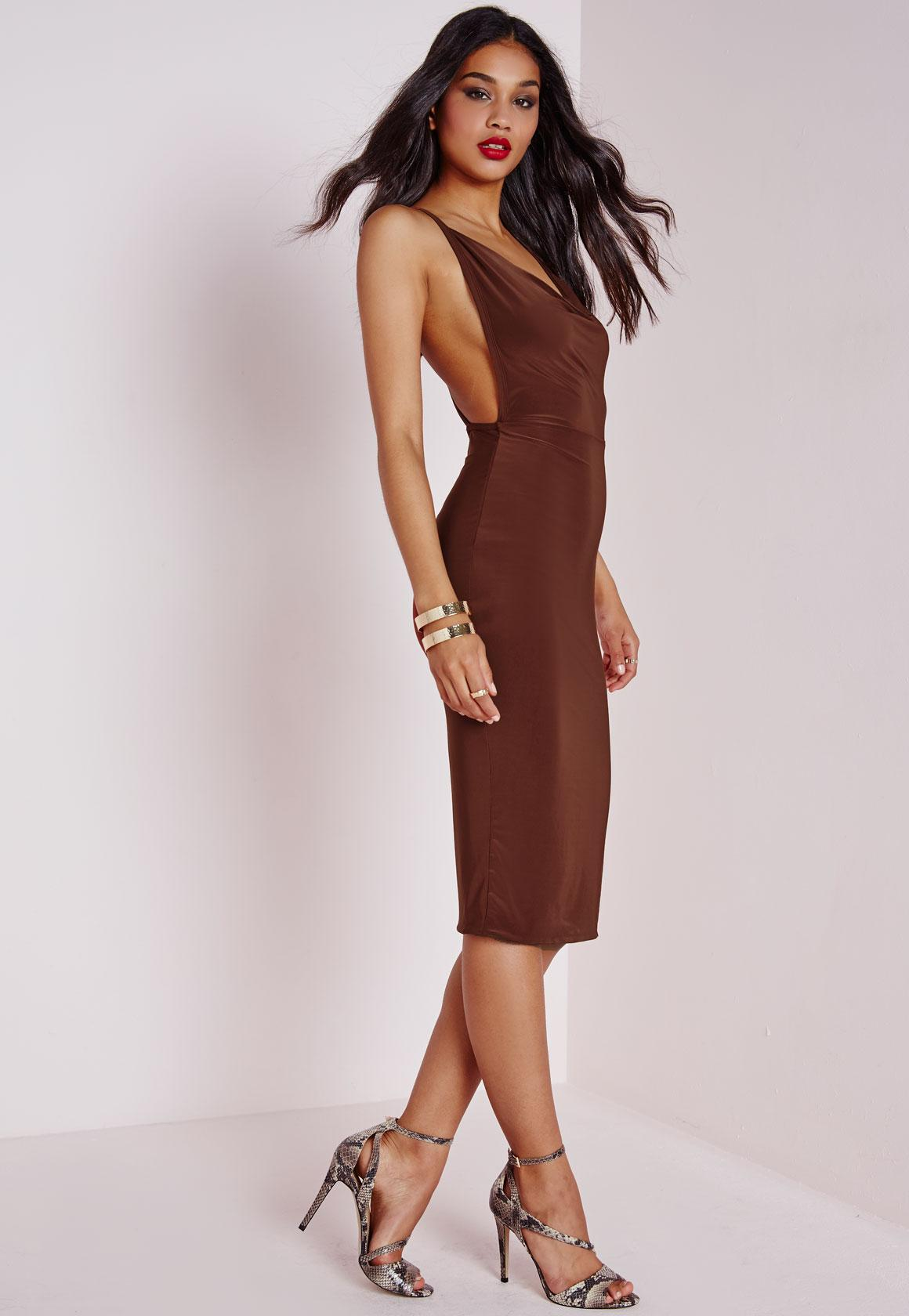 Slinky Cowl Neck Midi Dress Chocolate Brown | Missguided