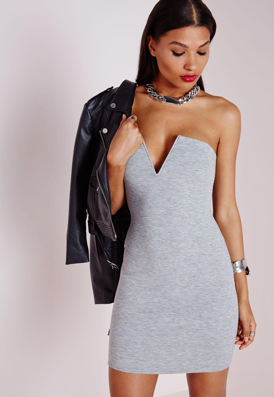 Plunge Strapless Bodycon Dress Grey Marl - Dresses - Bodycon ...