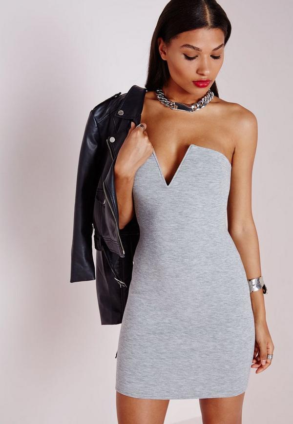 Plunge Strapless Bodycon Dress Grey Marl