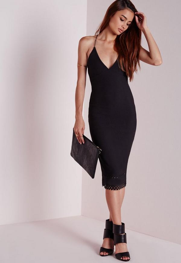 Crepe Plunge Strappy Laser Cut Midi Dress Black